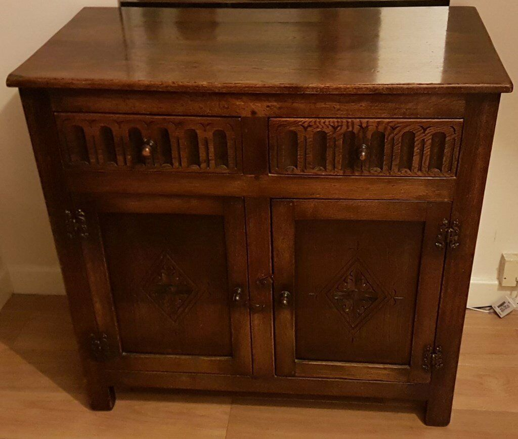 Dark solid wood sideboard cabinet antique cm wide in