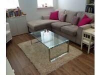 John Lewis glass/chrome coffee table