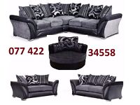 BLACK AND GREY DFS SHANNON CORNER OR 3+2 SOFA
