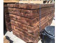 🌲 *New* Pressure Treated Brown Wooden/ Timber Railway Sleepers ~ 190 x 90 x 2.4M