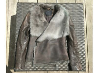 AllSaints Mures Sheepskin Stealing and Leather Jacket, size 14, soft cowl effect drape collar