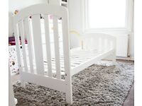 Mamas and Papas White Cotbed & Matress for Sale