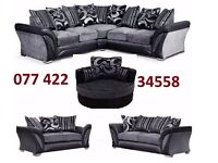 LAST FEW SET DFS CORNER OR 3+2 SOFA AS IN PIC BLACK AND GREY