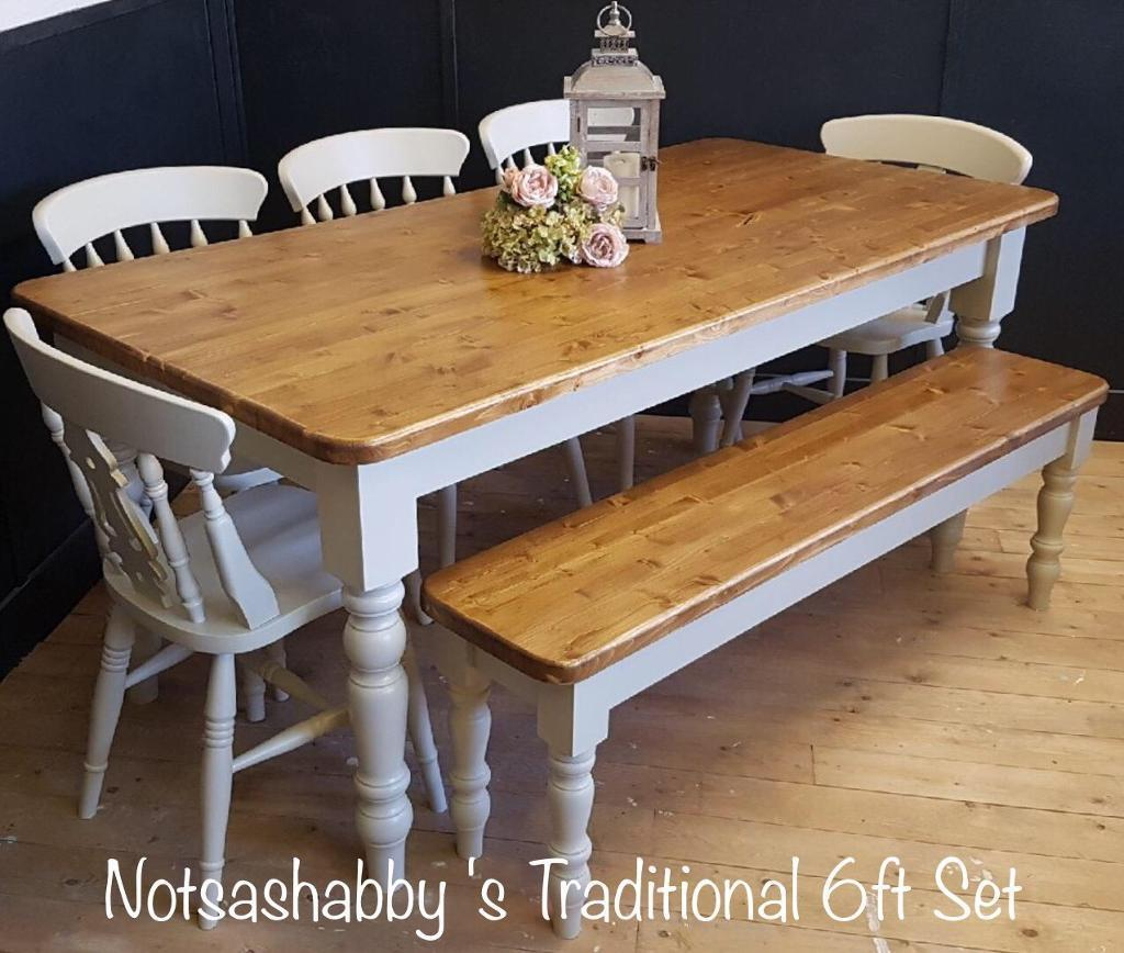 STUNNING 6FT PINE NEW HANDMADE FARMHOUSE TABLE BENCH AND CHAIRS