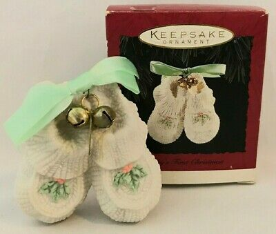 Hallmark Keepsake Ornament Baby's First Christmas Porcelain Booties 1994 - VHTF Booties Porcelain Keepsake