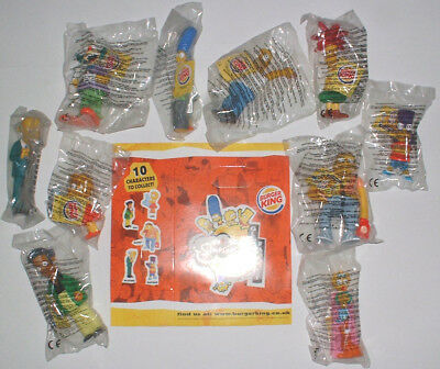 1999 UK Burger King THE SIMPSONS Happy Meal toy premium set MIP McDonalds