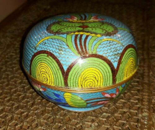 Old or Antique Chinese Cloisonne Box with Lotus Decoration