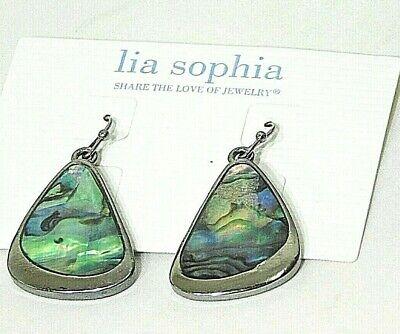 "Beautiful Lia Sophia ""OYSTER BAR"" Dangle Earrings, Genuine Abalone, NWT"