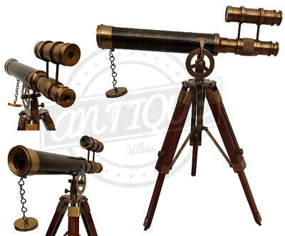 Antique Brass Sailor Telescope w/ Wood Tripod Stand Pirate Desk/Shelf Decor Gift