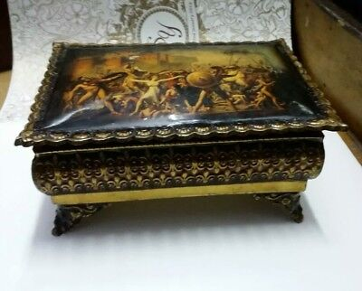 OLD INDIAN TRIBAL BRASS HANDCRAFTED BOX JEWELRY BOX BEAUTIFUL VINTAGE (Handcrafted Old Indian Jewelry)