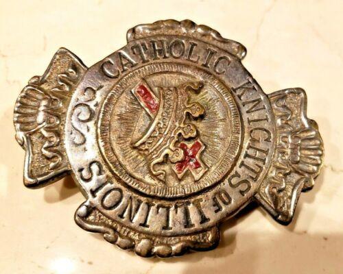 Unique Knights Templar Catholic Cross & Crown Illinois Masonic Mason Belt Buckle