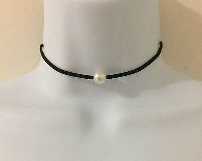 Black Color Faux Suede Cord with Small Pearl Bead Choker Necklace](Small Beads Necklace)