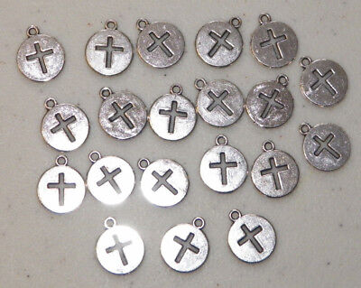 20 PIECES Round Cross Cut-out Charms, Christian Jewelry Craft & Beading Supplies - Christian Crafts