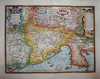 1603 Ortelius Map FRIULI NE ITALY Venice to Istria to Alps DECORATIVE & DETAILED