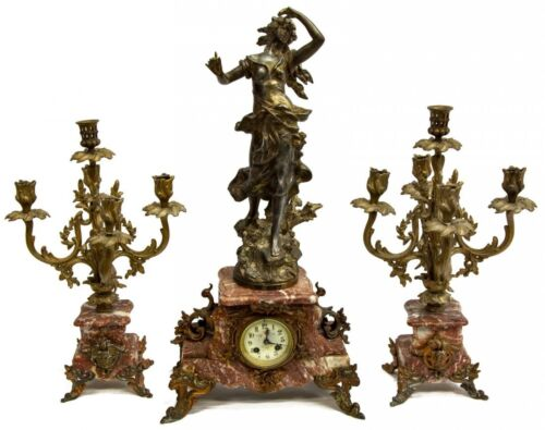 ELEGANT FRENCH FIGURAL MARBLE MANTEL CLOCK SET, early 1900s
