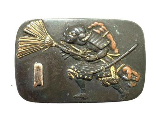 Antique Japanese Maekanagu Clasp: Samurai (V24)