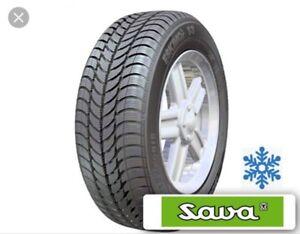 4 winter tires x Sava Eskimo S3 195/60 R15;  Includes Rims