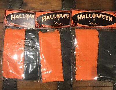 Bethany Lowe Halloween Black & Orange Crepe Paper Garland 3 Packages—retired