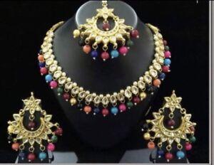 Beautiful Indian jewelry Kundan and gold plated jelwery set