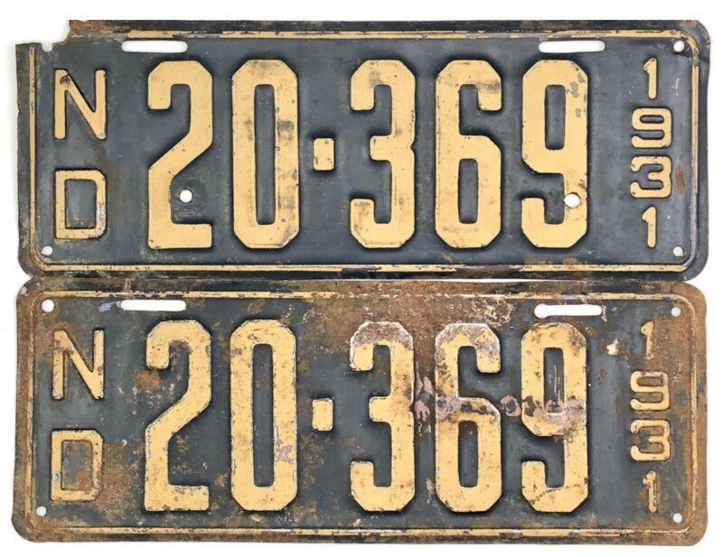 1931 North Dakota License Plate PAIR #20-369