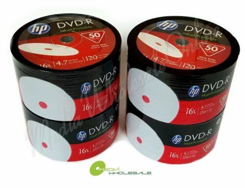 200 HP Blank16X DVD-R DVDR White Inkjet Hub Printable 4.7GB Media Disc 4x50pk