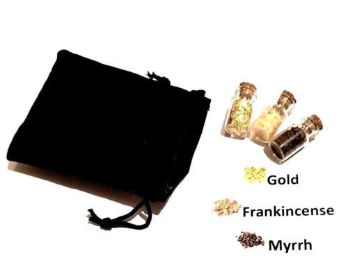 Gold - Frankincense - Myrrh - in a black velvet pouch