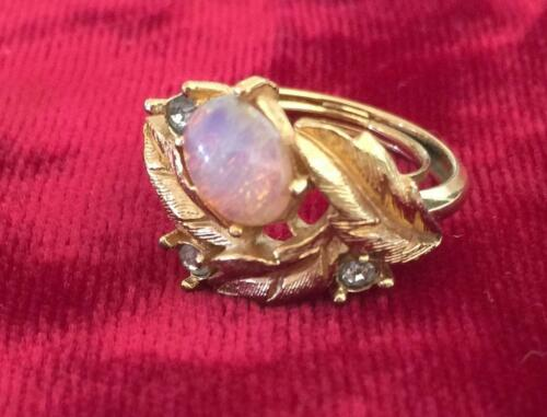 VINTAGE AVON PINK OPAL COCKTAIL RING, SIZE 5