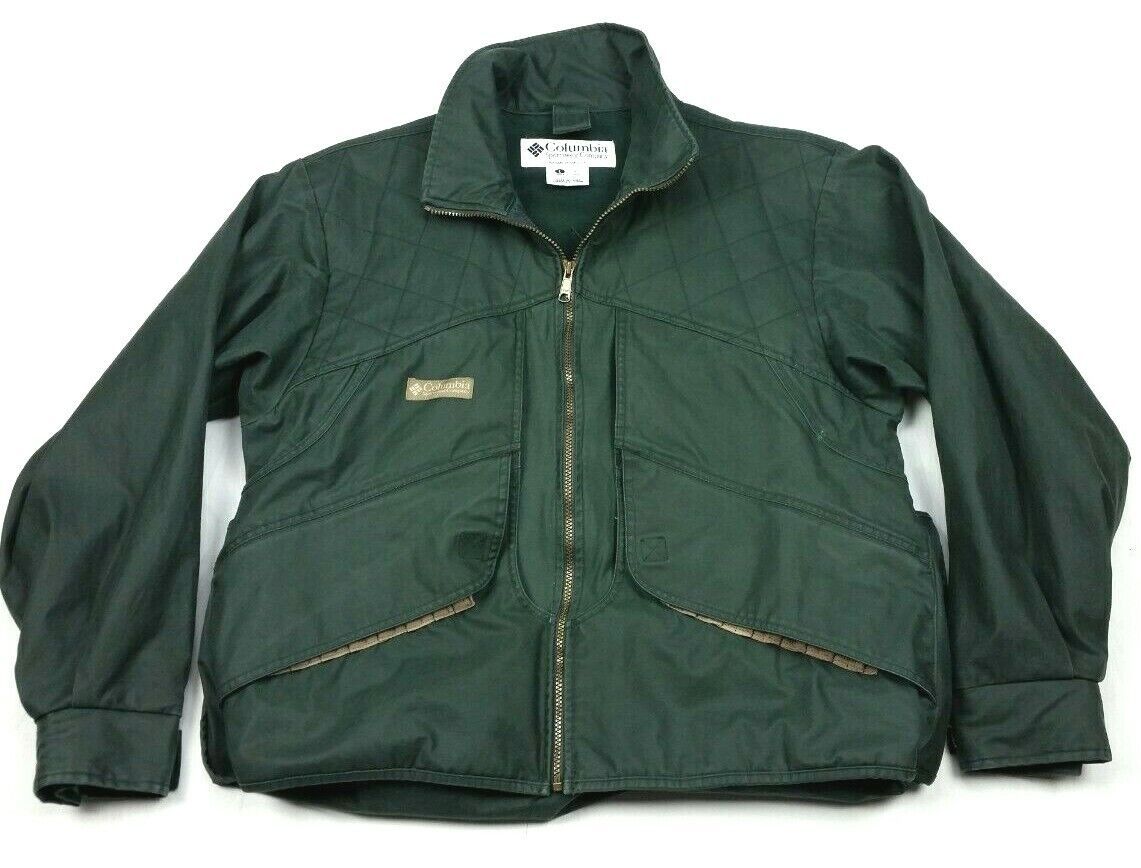 Vintage Columbia Green Full Zip Bird Game Hunting Shooting Jacket Large Mens - $49.99