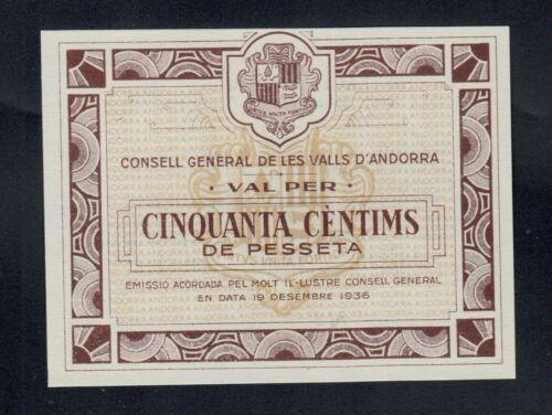 ANDORRA  50 CENTIMS  1936   PICK #  5  UNC.