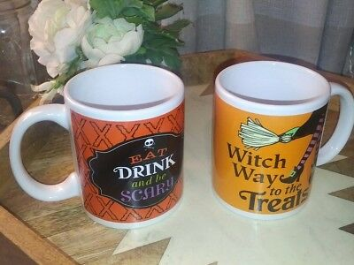 2 Halloween Mugs! New! Eat Drink And Be Scary, Witch Way To The Treats! Chic... - Halloween Treats To Eat