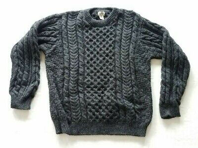 LL Bean Men's Charcoal Fisherman Cable Knit Wool Sweater Size XL Made In Ireland