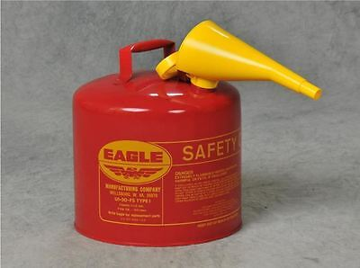 Eagle 5-Gallon Metal Gasoline Can Red Gas Fuel Tank Steel NEW Pour Spout -