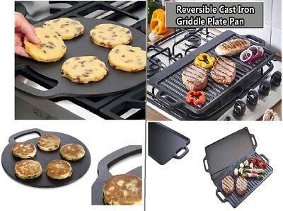 Non-Stick Cast Iron Reversible Griddle BBQ Plate Grill Pan Indoor Hob Cooking ES Non Stick Cast