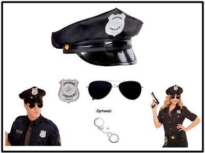 POLIZISTEN SET Polizist Kostüm Karneval Polizei Hut Brille Abzeichen  ,(K)