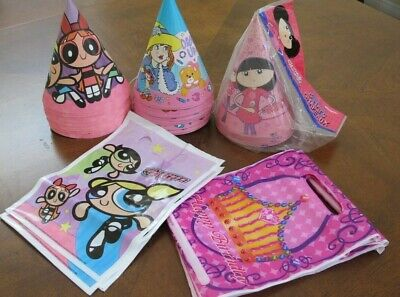 Girls Dressed As Pokemon (vintage 31 birthday party hat & 8 bag powerpuff girls dress up charmed AS IS)
