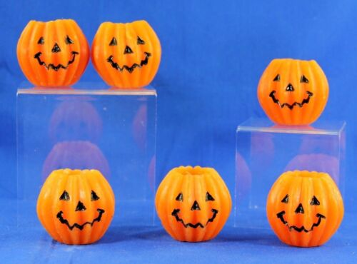 VINTAGE HALLOWEEN CANDLE LOT OF 6 JACK-O-LANTERN CANDLES