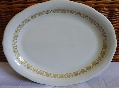 Vintage White, Gold Scalloped Oval Dinner Plate Shenango China USA by Interpace