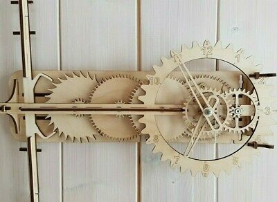 Wooden clock.Building kit. Wooden gear. Mechanical. Pendulum. 3D Wood Puzzle.