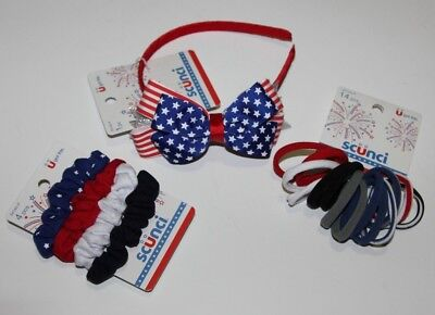LOT (3) SCUNCI HEADBAND PONYTAIL RED WHITE BLUE FLAG PATRIOTIC HAIR TIES