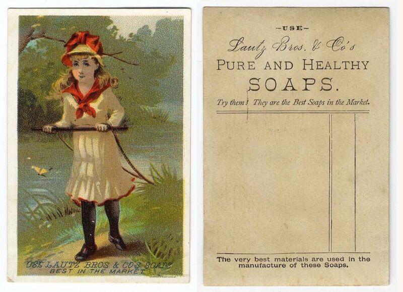 Little Victorian Girl LAUTZ BROS SOAP Trade Card 1880