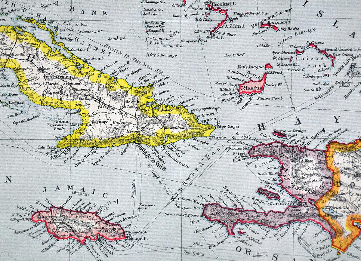 1907 Map West Indies Caribbean Cuba Bahamas Florida Keys Jamaica Santo Domingo