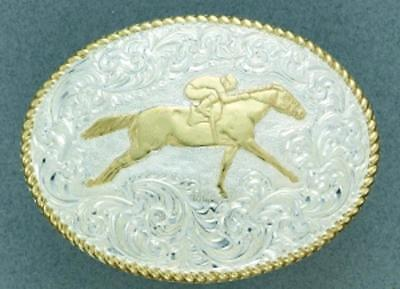 - Crumrine Western Mens Belt Buckle Oval Race Horse Silver/Gold C02116