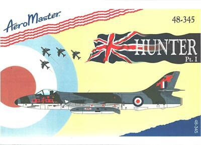 1:48 Hawker Hunter Pt I 1 AeroMaster Decals Scale Model Decal Sheet NOS 48-345