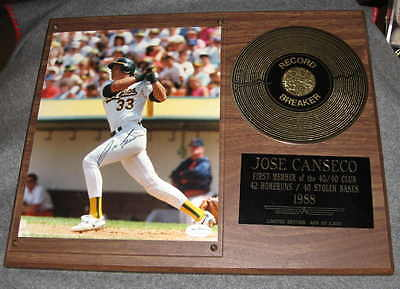 Jose Canseco Oakland A's Signed photo in Record Breaker plaque Auto JSA