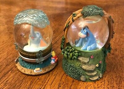 Extremely Rare Disney Mini Dumbo and Eeyore Snow Globes lot of 2