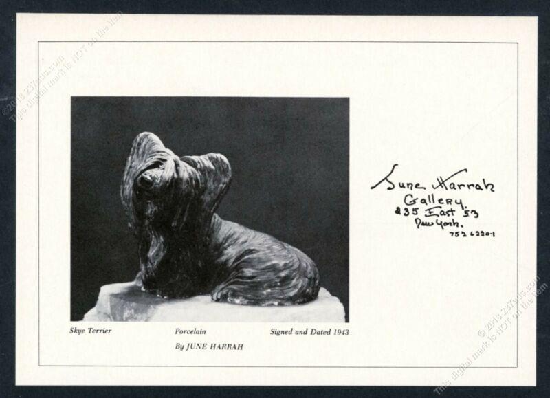 1971 June Harrah Skye Terrier figure photo NYC gallery vintage print ad