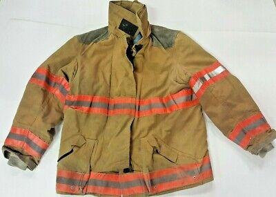 42x32 Globe Brown Firefighter Bunker Jacket Coat W Orange Reflective Tape J819