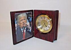 Howard Miller 645-497 Portrait Book Table or Desk Clock-Rosewood-NICE