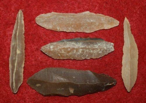5 Sahara Mesolithic uni-facial blades, nice   #5SMB