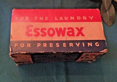 Vintage Essowax 1 Lb Household Refined Wax For Laundry For Preserving New in Box